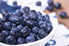 Blueberries in a white ceramic bowl Stock Photography