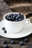 Blueberries in a white cup on brown cloth Stock Photo