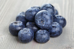 Blueberries on wood table Stock Photo