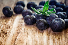 Blueberries on wooden background. Stock Photography