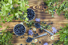 Blueberries on wooden background Royalty Free Stock Photography