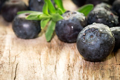 Blueberries on wooden background. Royalty Free Stock Photography