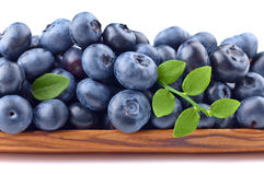 Blueberries in wooden dish isolated on white Royalty Free Stock Image