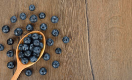 Blueberries in a wooden spoon Royalty Free Stock Images