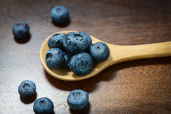 Blueberries on a Wooden Spoon Royalty Free Stock Images