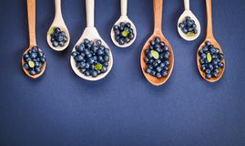 Blueberries in wooden spoons Stock Photo