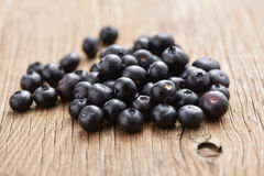 Blueberries on a wooden table Royalty Free Stock Photography
