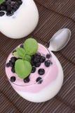 Blueberries in yogurt Stock Photography
