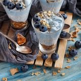 Blueberries and yogurt chia pudding parfait. In a glass close up stock images