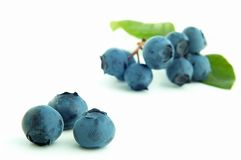 Blueberry. Groups of blueberries on white background Stock Photography