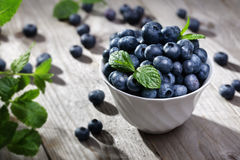 Blueberry. Antioxidant organic superfood in a bowl concept for healthy eating and nutrition