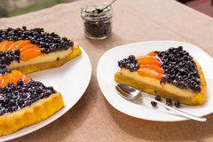 Blueberry and apricots Tart with fresh fruits Royalty Free Stock Photography