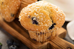 Blueberry and banana muffins with coffee for breakfast Stock Images
