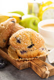 Blueberry and banana muffins with coffee for breakfast Royalty Free Stock Image