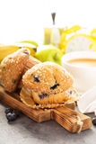 Blueberry and banana muffins with coffee for breakfast Stock Photography