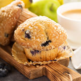 Blueberry and banana muffins with coffee for breakfast Royalty Free Stock Photography