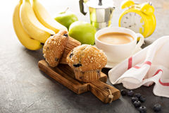Blueberry and banana muffins with coffee for breakfast Royalty Free Stock Photos