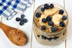 Blueberry and banana overnight oatmeal in mason jar Stock Photography