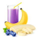Blueberry banana smoothie Stock Image