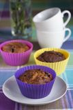 Blueberry and banana sugar free wholegrain muffins Stock Photos