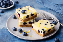 Blueberry bars, cake, cheesecake on a grey plate on blue stone background.  stock photos