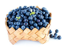 Blueberry in basket Royalty Free Stock Photos