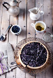 Blueberry, bilberry tart with lavender Royalty Free Stock Photos