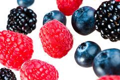 Blueberry, blackberry, raspberry. Royalty Free Stock Photos