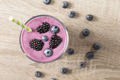 Blueberry and blackberry smoothie Stock Photography