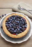 Blueberry and blackberry tart Stock Photo