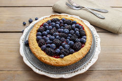 Blueberry and blackberry tart Royalty Free Stock Photo