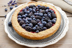 Blueberry and blackberry tart Stock Photography