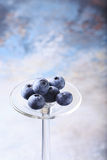 Blueberry on blue background. Royalty Free Stock Photo