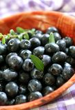 Blueberry in bowl. Blueberry in a brown  bowl, closeup, food ingredient Stock Photography