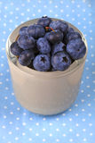 Blueberry in a bowl on blue dotted cloth. Blueberry antioxidant organic superfood in a bowl concept for healthy eating and nutrition Royalty Free Stock Image