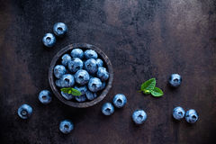 Blueberry. In a bowl on dark background Stock Image
