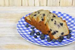 Blueberry bread on checkered plate Royalty Free Stock Image