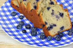 Blueberry bread on checkered plate Royalty Free Stock Photos