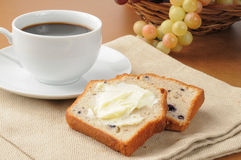 Blueberry bread and coffee Royalty Free Stock Photography