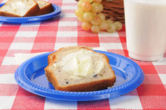 Blueberry bread and milk on a picnic table Stock Images