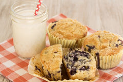Blueberry Breakfast Muffin With Glass of Milk and Napkin Royalty Free Stock Photos