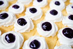 Blueberry cake. Butter cake with blueberry sauce and whipping cr royalty free stock image