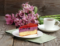 Blueberry cake. Favorite holiday cake with jelly royalty free stock photography