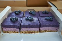 Blueberry cake with fresh blueberry on top stock photo