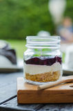 Blueberry cake in jar. Stock Photography