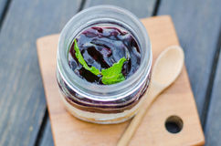 Blueberry cake in jar. Stock Photos