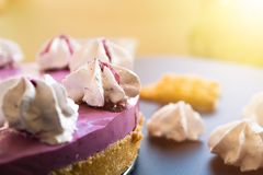 Blueberry cake. With marshmallow on top and cookies on dark table with copy space for text royalty free stock photography