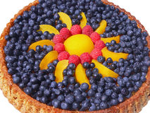 Blueberry cake with raspberries and peaches Stock Photography