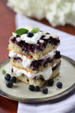 Blueberry cake with whipped cream Stock Photos