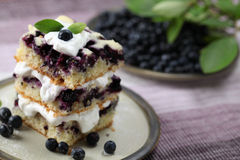 Blueberry cake with whipped cream Stock Photo